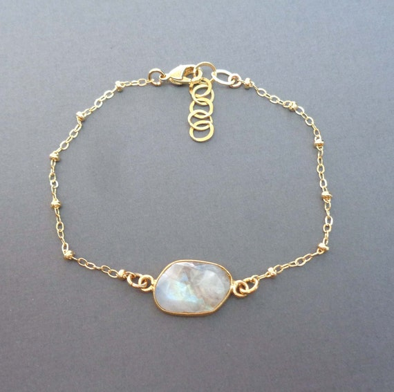 Dainty Moonstone Gold-Fill Bracelet / June Birthstone Gift / Fertility Stone / Genuine Moonstone Jewelry