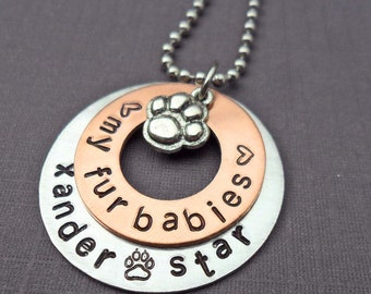 Pet Love Necklace - Love My Fur Babies - Dog Lover Gift - Personalized Cat Names - Pet Lover Gift