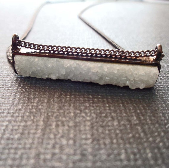 White Druzy Black Bar Necklace / Modern Necklace / Minimalist Jewelry