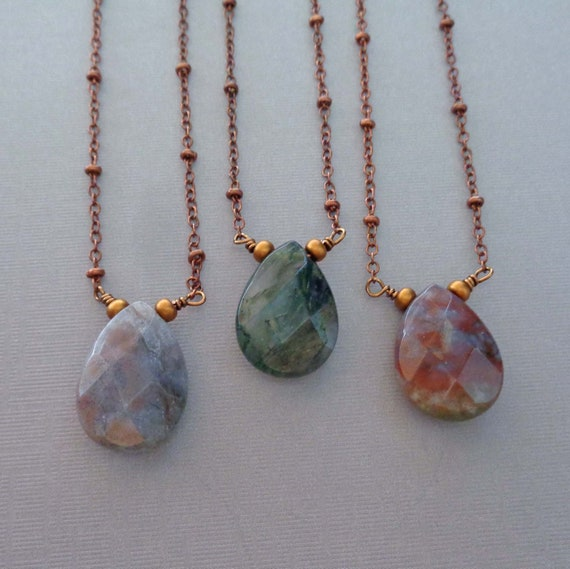 Fancy Jasper Necklace on Copper Chain / Wire-wrapped Jasper Jewelry / Colorful Crystal Necklace / Grounding Earthy Stone