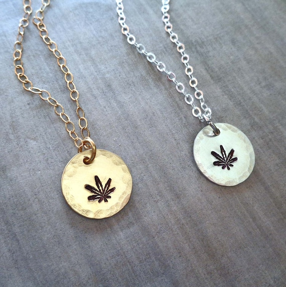 Hemp Leaf Necklace / Gold Hemp Charm / Sterling Silver Cannabis Leaf / Hand Stamped Gift / Boho Hippie Charm