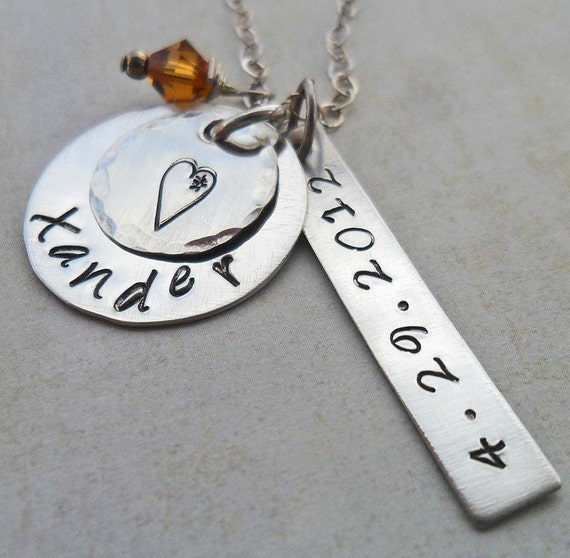 Mommy Necklace / Baby Shower Gift / Personalized New Mom Baby Name and Date Jewelry