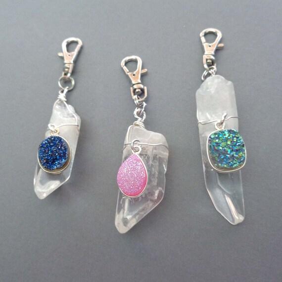 Crystal Purse Charm / Crystal Bling Druzy Accessory / Druzy Crystal Keychain / Crystal Zipper Pull