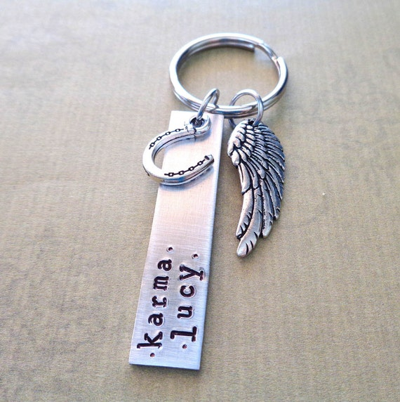 Horse Name Keychain / Horse Memorial Personalized Keychain / Memorial Bar  Angel Wing / Custom Horse Keychain