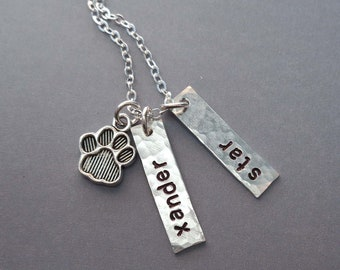 Pet Names Sterling Silver Bar Necklace / Pet Lover Gift / Personalized Pet Necklace / Dog Mom / Cat Mom / Pet Memorial