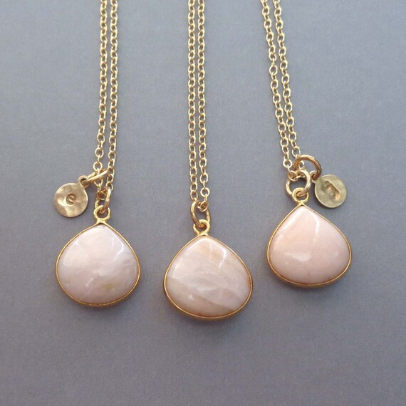 Pink Opal Necklace Personalized Initial / October Birthday Gift / Gemstone Jewelry / Opal Jewelry Gold