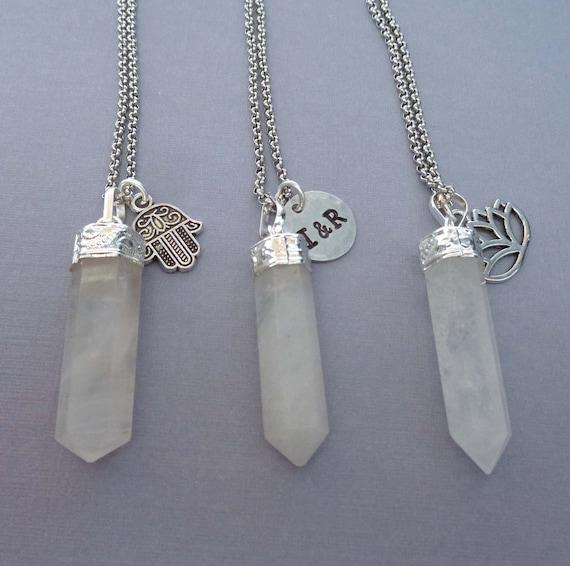 Snow Quartz Necklace / White Quartz Pendant / Crystal Gift / Crown Chakra Stone / White Stone Necklace
