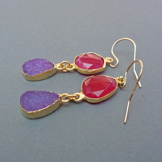 Purple Druzy Fuchsia Chalcedony Earrings - Berry Drops - Gold Purple Red Jewelry - Valentines Gift