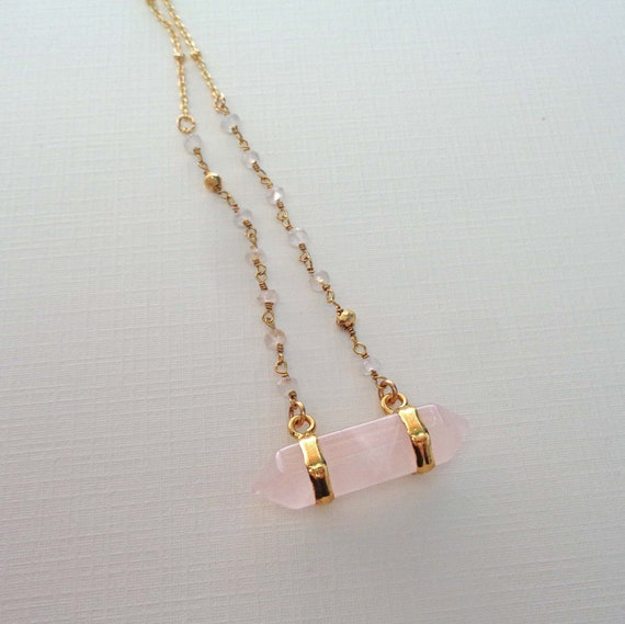 Rose Quartz Bar Necklace / Double Terminated Rose Quartz with Amethyst or Moonstone / Valentines Day Gift / Love Stone Gift