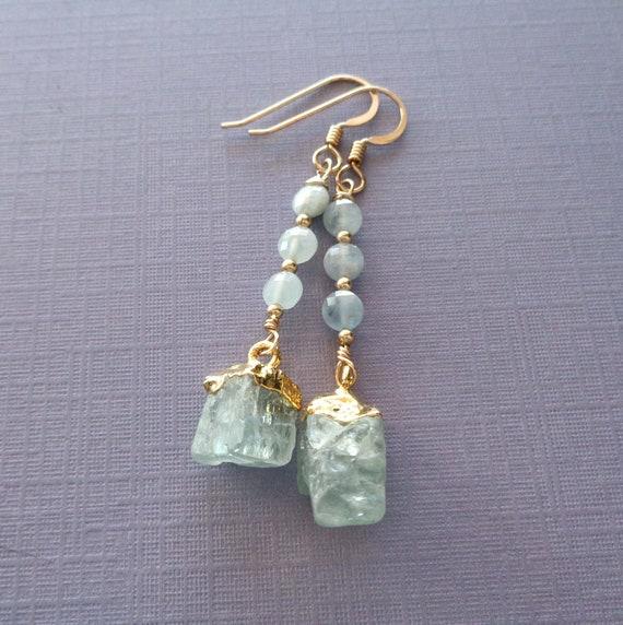 March Birthstone Gift / Aquamarine Earrings Gold-fill / March Birthstone / Genuine Aquamarine Jewelry
