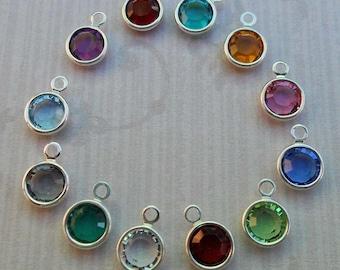 Add-on Crystal Channel Charm - Swarovski Crystal Charm - Birthstone Crystal