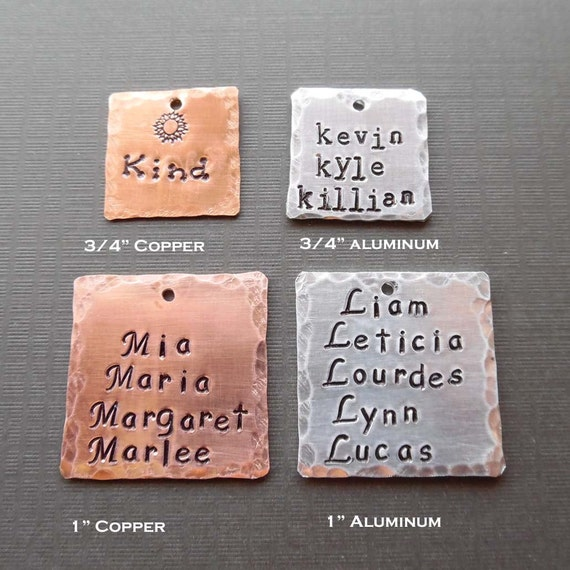 Add-on Square - Copper Hand Stamped Square- Personalized Aluminum Square - Add on Pendant