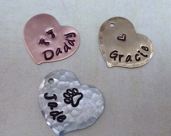 Add-on Personalized Heart - Personalized Heart Charm - Custom Name Design Stamps