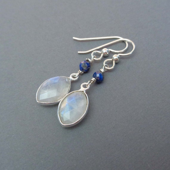 Moonstone Lapis Silver Earrings / June Birthstone Gift / Sterling Silver and Moonstone Drops