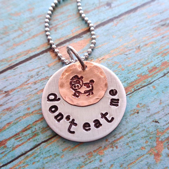 Cute Cow Necklace / Don't Eat me / Vegetarian Vegan Jewelry / Custom Name Date Words Necklace