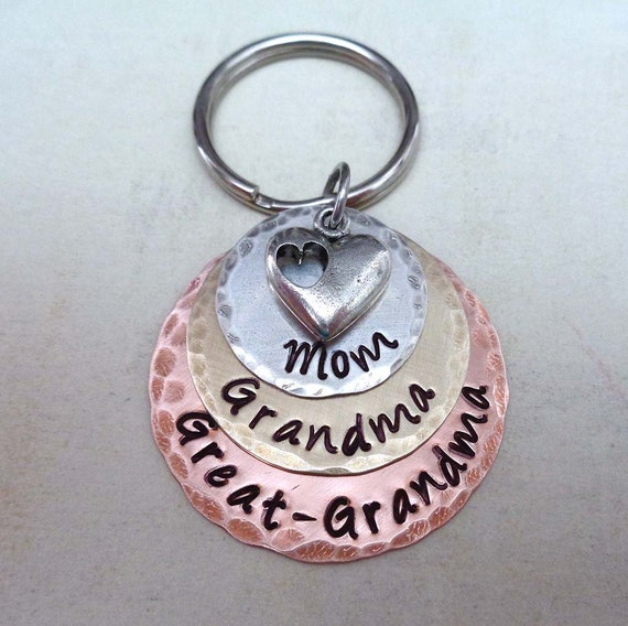 Mom Grandma Great Grandma Keychain - Mothers Day Gift - Great Grandma Gift - Grandmother Jewelry