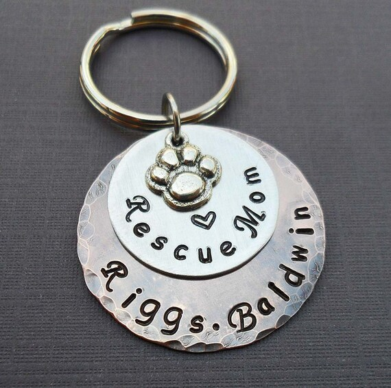 Rescue Mom Personalized Keychain - Love My Rescue Pet - Rescue Dad Gift - Personalized Dog Cat Names