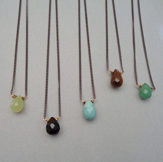 Dainty Gemstone Necklace / Aventurine Onyx Jewelry / Wire-wrapped New Jade Tiger Eye / Minimalist Amazonite Jewelry