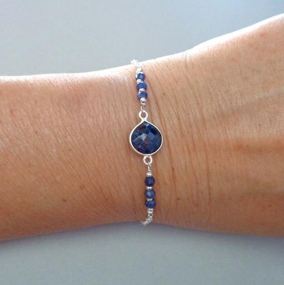 Sapphire Sterling Silver Bracelet / Dainty Sapphire Jewelry / Loyalty Stone / 5 year Anniversary Stone