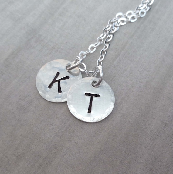 Large Initial Sterling Silver Necklace / Personalized Initials / Mothers Day Gift / Minimalist Jewelry