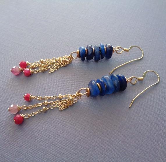 Blue Kyanite Stack Dangle Earrings / Long Crystal Earrings / Kyanite Ruby Pink Tourmaline Earrings