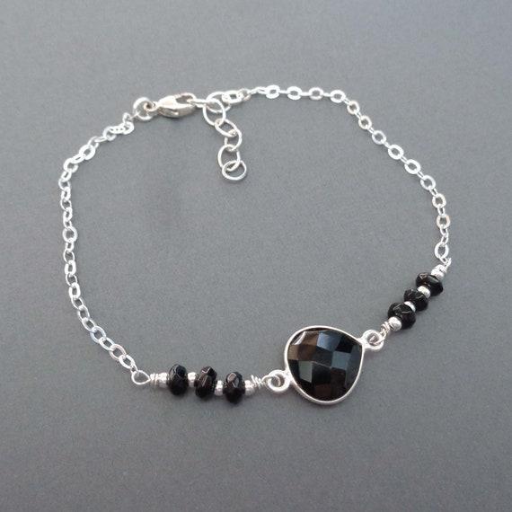 Dainty Onyx Sterling Silver Bracelet / Black Onyx Jewelry / Silver and Black Jewelry Minimalist / Grounding Crystal