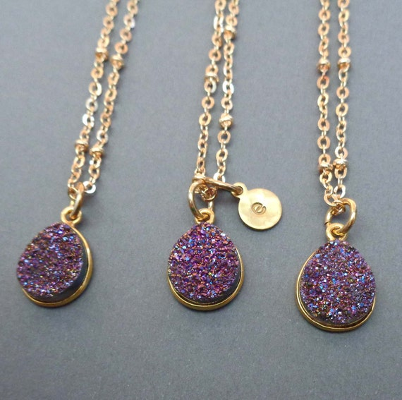 Purple Druzy Personalized Initial Necklace / Peacock Purple Sparkly Stone / Small Violet Stone