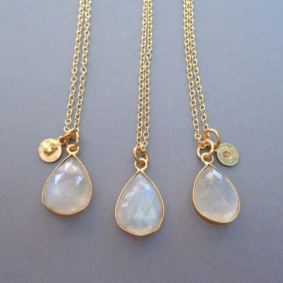 Rainbow Moonstone Necklace Personalized Initial / June Birthstone Gift / Genuine Moonstone / Gemini Gift / Gemstone Jewelry