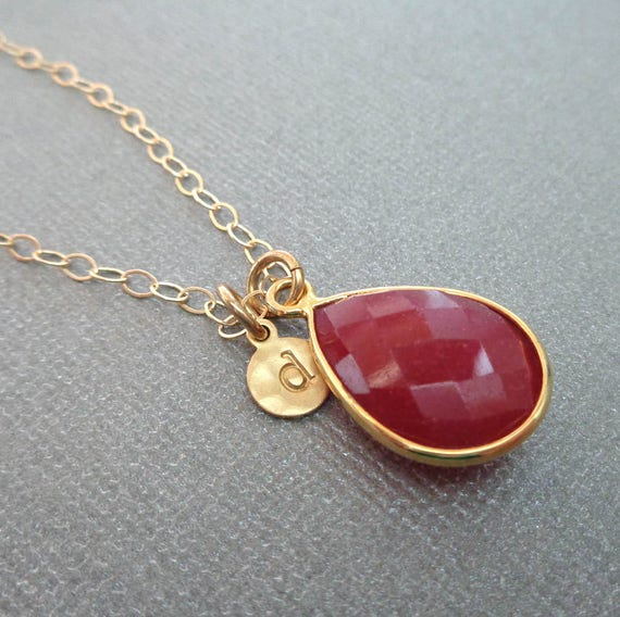 July Birthday Gift / Ruby Necklace / Personalized Gold Initial / Ruby Jewelry / Valentines Gift