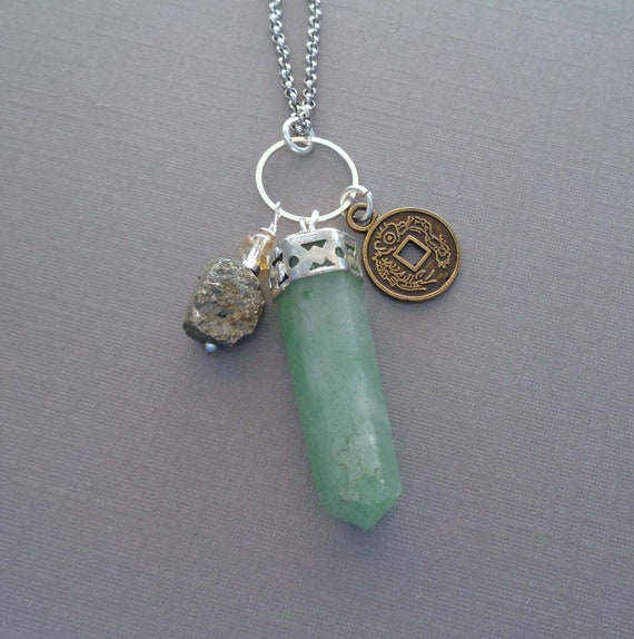 Good Luck Gift / Prosperity Abundance Necklace / Wealth Stones Necklace / Chinese Luck Wealth Coin