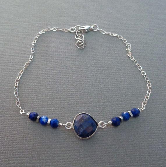 Lapis Lazuli Sterling Silver Bracelet / Dainty Lapis Jewelry / Third Eye Stone / Dainty Blue Stone Bracelet