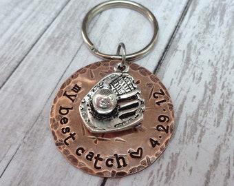 My Best Catch Baseball Keychain - Valentines Gift - Gift for Husband - Sport Keychain - Anniversary Gift Baseball