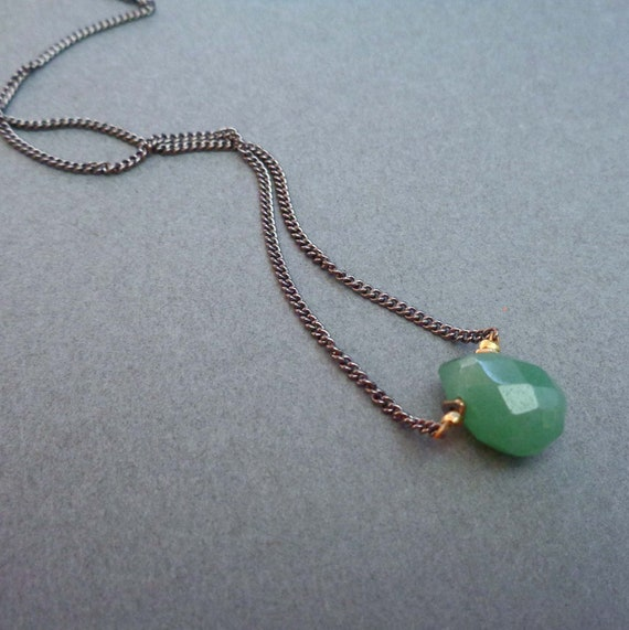 Aventurine Necklace / Prosperity Necklace / Minimalist Green Jewelry / Heart Chakra Stone
