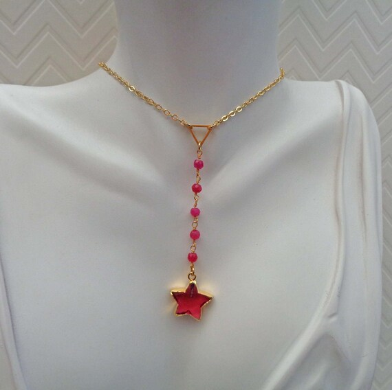 Star Drop Choker / Tourmaline Crystal Star Necklace /  Gift for Her / Valentine's Gift / Ruby Crystal Star Jewelry