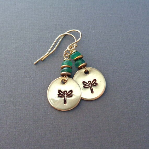 Dragonfly Emerald Earrings - Gold Dragonfly Jewelry - Insect Gift - Symbol of Change Transformation Jewelry
