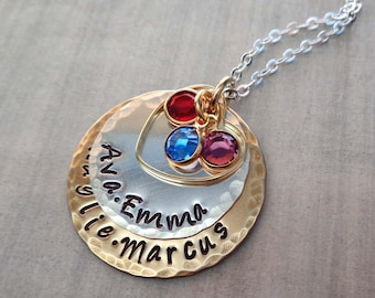 Personalized Names Necklace with Birthstone Crystals - Mom Nana Jewelry - Mothers Day Gift