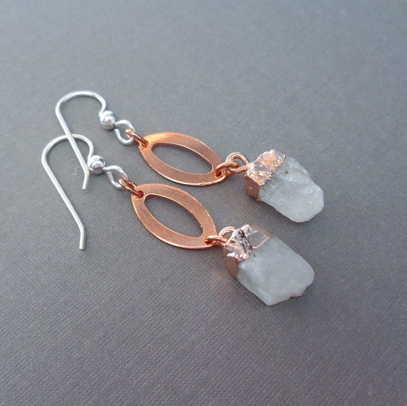 Raw Moonstone Earrings / Rose Capped Rough Moonstone / June Birthday Gift / Moonstone Copper Jewelry