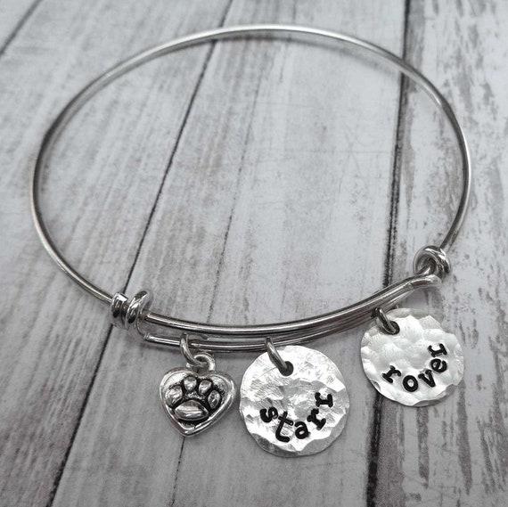 Pet Names Bangle Bracelet - Personalized Pet Gift - Cat Mom Gift - Dog Mama Bracelet - Silver Pet Bracelet