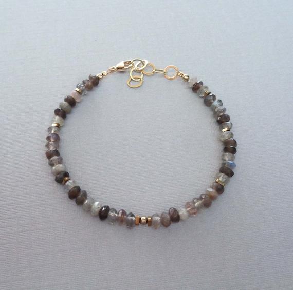 Beaded Labradorite Bracelet / Dainty Crystal Bracelet / Transformation Crystal / Small Labradorite Jewelry
