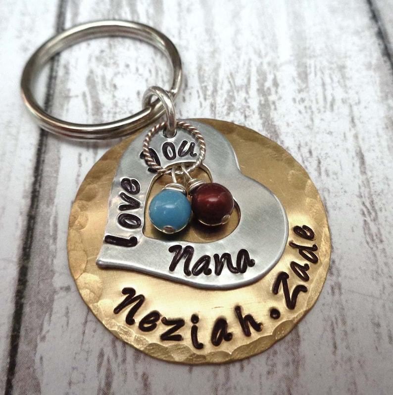 Love You Grandma Keychain  Gift for Nana  Personalized Names image 0