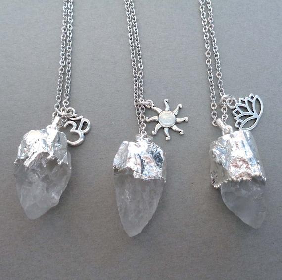 Chunky Raw Crystal Necklace / Crystal Quartz Pendant / Large Clear Crystal / Sun Lotus Om Boho Jewelry