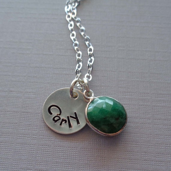 Personalized Emerald Necklace / May Birthstone Necklace / Custom Name Initial / 20th Anniversary Gift / May Birthday Stone