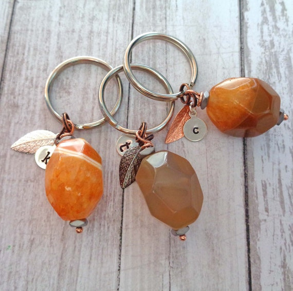 Personalized Fire Agate Keychain / Large Faceted Agate Nugget / Creativity Stone / Stone of Energy Strength