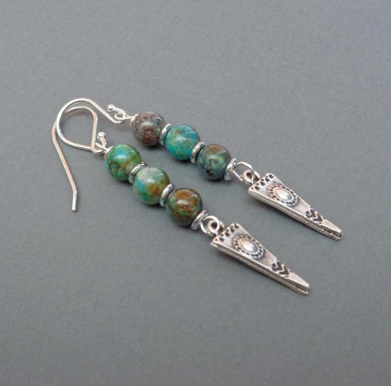 Shattuckite Tribal Triangle Earrings - Stacked Shattuckite Drop Earrings - Spiritual Stone Earrings