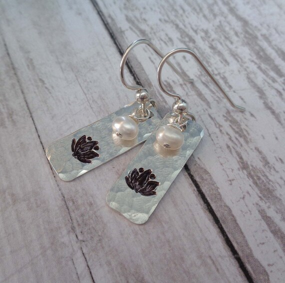 Lotus Earrings - Stamped Sterling Silver Flower Pearl Earrings - Buddhism Yoga Meditation Boho Jewelry
