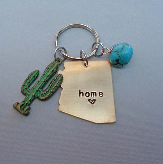 Arizona Keychain - Saguaro Arizona is Home - Love Arizona Gift - State of Arizona Key Ring with Turquoise and Cactus