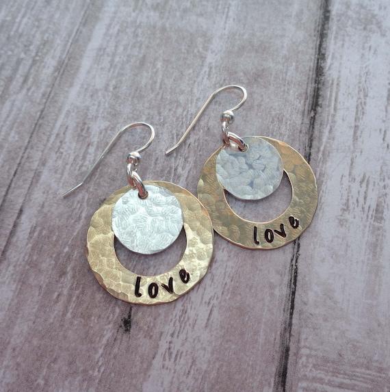 Personalized Hoops - Custom Word Name Date Earrings - Hand Stamped Jewelry