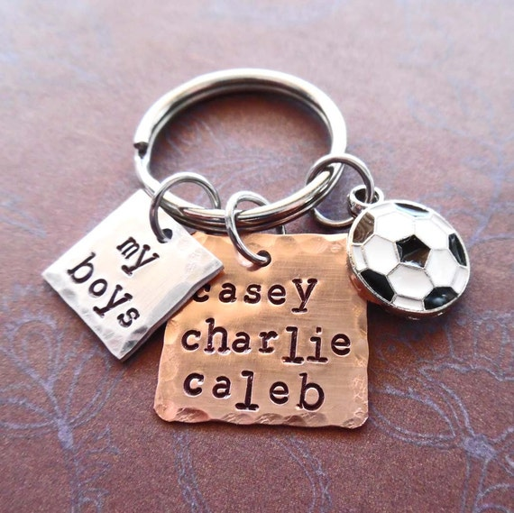 My Soccer Boys Keychain - Personalized Names Soccer- Man Dad Father Mommy gift - My Boys Sport - Soccer Mom Personalized Keychain
