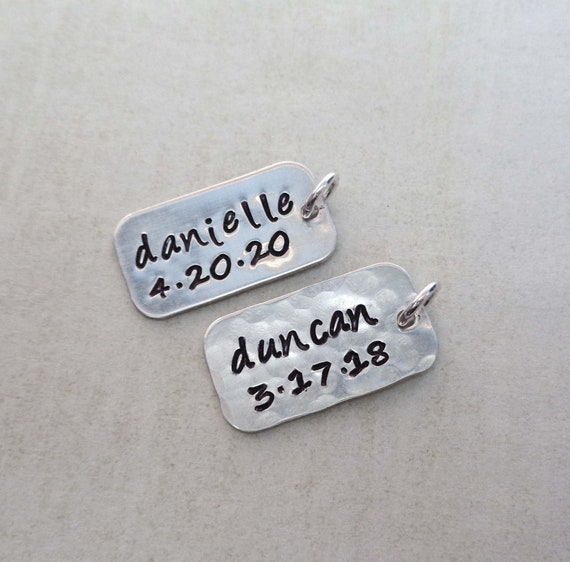 Personalized Sterling Silver Tag / Add on Sterling Silver Bar / Personalized Name Date Numbers