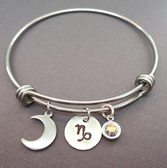 Silver Zodiac Astrology Bangle - Stamped Zodiac sign Initial Name -  Your Sign Zodiac Gift Adjustable Bangle -  Zodiac Moon Crystal -B45